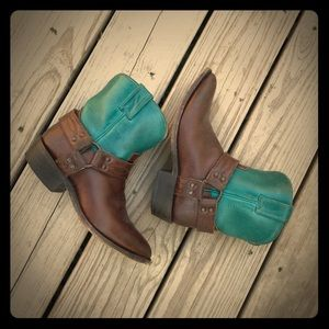 Frye Billy Harness Booties (Turquoise/Brown)